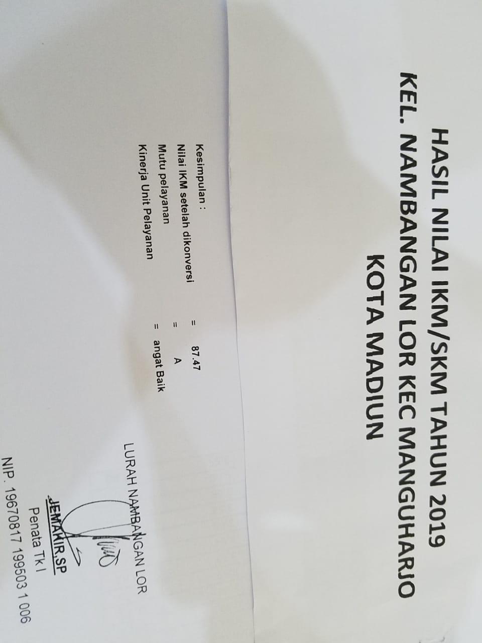 Hasil Nilai SKM /IKM dari Kelurahan Nambangan Lor Tahun 2019